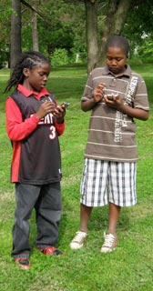 students using gps units