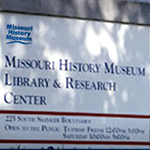 Missouri History Museum Library sign