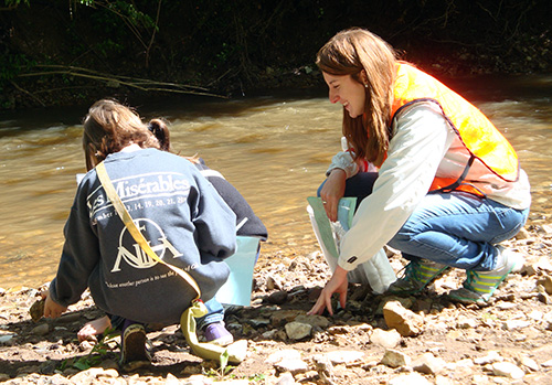 Teacher and students on creek bed
